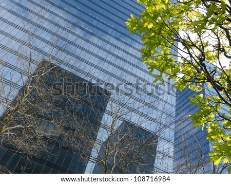 The modern office building. Spring in the city.  The urban scene. - stock photo