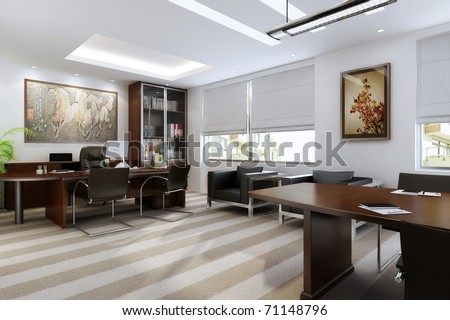The modern office interior (rendering) - stock photo