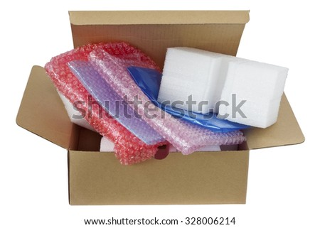 The modern plastic  safe packing materials in cardboard box for your business. Isolated with patch - stock photo