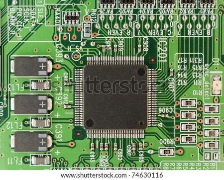 The modern printed-circuit board with electronic components macro background