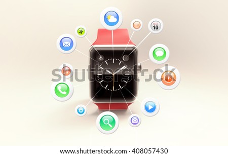 The modern red smart watch with app icons in front of screen. 3d rendering - stock photo
