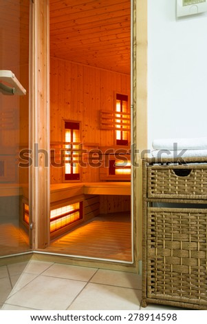 The modern sauna in a luxury apartment
