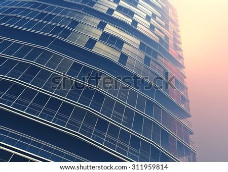The modern skyscraper on white background - stock photo