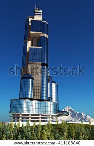 The modern skyscraper on white background,3d render - stock photo