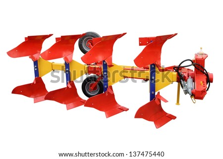 The modern tractor plough isolated on a white background - stock photo
