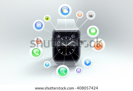 The modern white smart watch with app icons in front of screen. 3d rendering