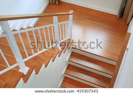 The modern wooden stair way in home