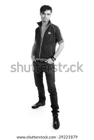 The modern young man on a white background