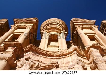 The Monastery at Petra Jordan - stock photo