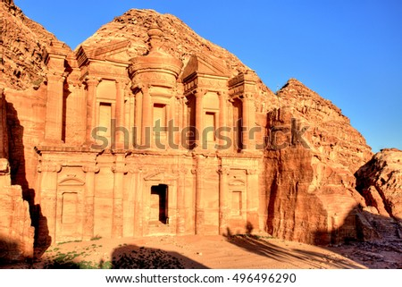The Monastery (El Dayr) in Petra Ancient City in a Golden Sun, Jordan
