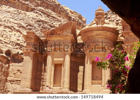 The monastery ,from the inside of a nearby caves in Petra,Moses valley - Jordan - stock photo