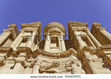 the monastery in ancient nabataeans city of petra, jordan - stock photo