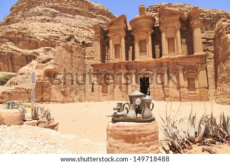 The monastery in Petra with a Bedouins Tea & coffee pots - stock photo