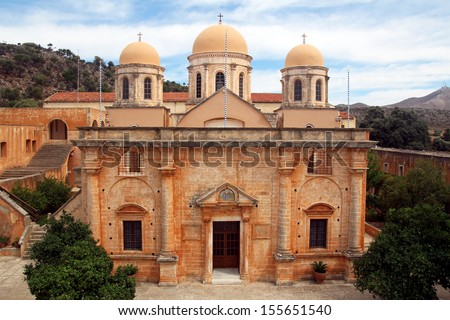The Monastery of Agia Triada in Crete, Greece - stock photo