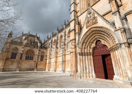 The Monastery of Batalha, literally the Monastery of the Battle, is a Dominican convent in the civil parish of Batalha, in the district of Leiria, in the Centro Region region of Portugal. - stock photo