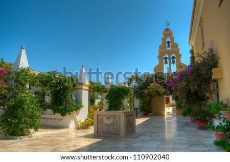 The monastery of Virgin Mary, Paleokastritsa Corfu Greece - stock photo
