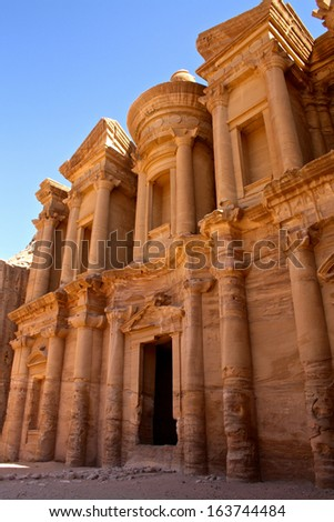 The Monastery or El Deir at the Ancient City of Petra, Jordan,