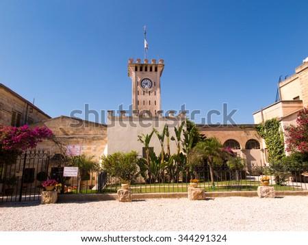 The monastic buildings near the church on Mount Tabor, Israel - stock photo