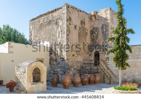 The Monastiri Odigitrias is an old monastery from the 14 century and holy Patriarchal in the south-central of Crete. There is an exhibition about the old live in the convent and there monks to visit - stock photo