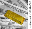 The money american dollars and gold bullion - stock photo