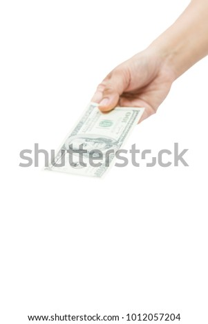 The money dollars in hand in hand on a white background.