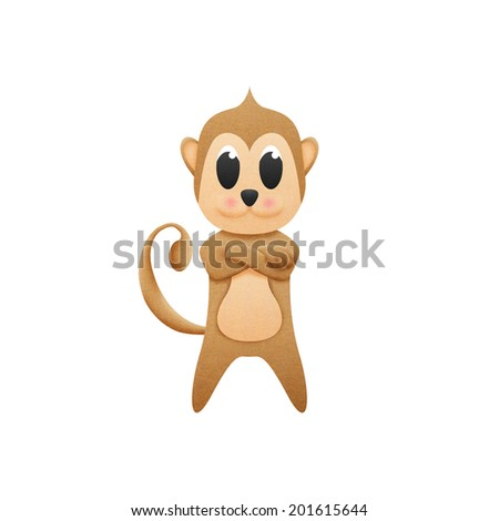the monkey with illustration cute cartoon of paper cut - stock photo