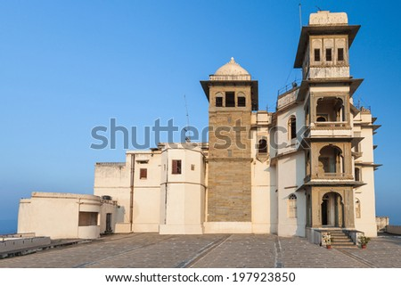 The Monsoon Palace (Sajjan Garh Palace) in Udaipur, India - stock photo