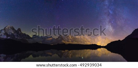 The Mont Blanc mountain range and the milky way seen from Lac De Cheserys, Chamonix, France.