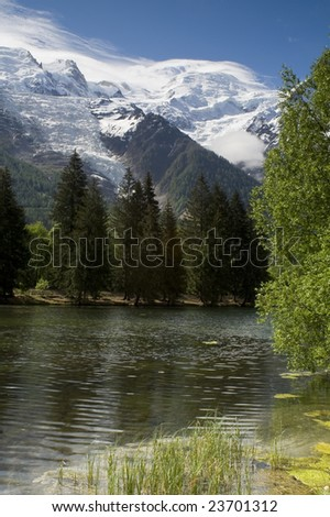 The Mont Blanc mountain range in Chamonix