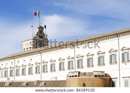 The Montecitorio palace, home to the italian Parliament, in Rome