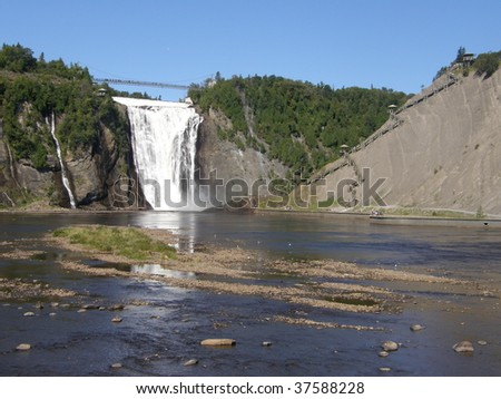 The Montmorency Falls or Chutes Montmorency in Quebec City, Canada