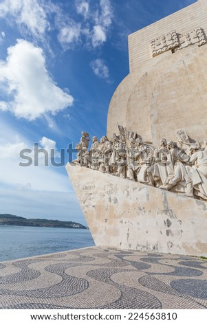 The monument for the conquerers is a famous sight in Lisbon, Portugal - stock photo
