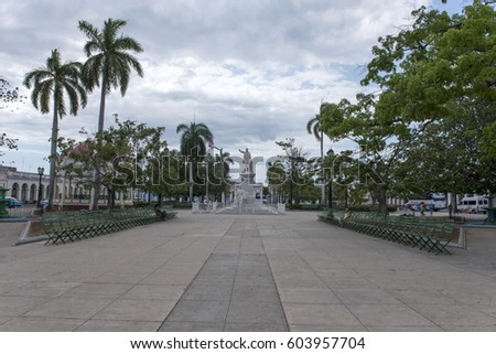 The monument of national hero Jose Marti on the square in Cienfuegos, Cuba. March 2015