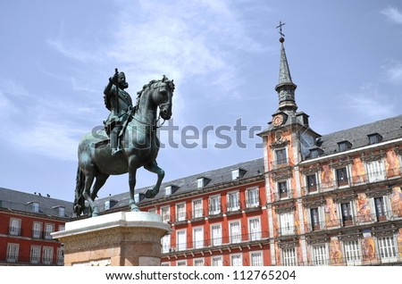 The monument of the King Philip III on Plaza Mayor in Madrid, Spain - stock photo