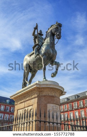 The monument of the King Philip III on Plaza Mayor in Madrid, Spain