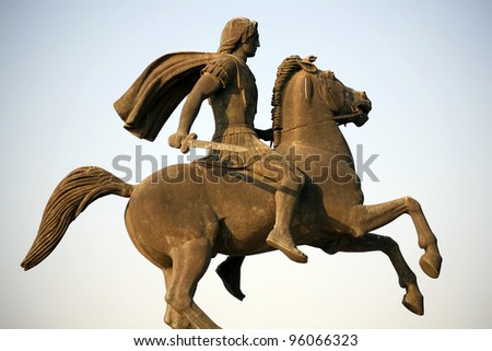 The monument to Alexander the Great in Thessaloniki, Greece
