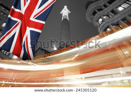 The Monument to commemorate the Great Fire of London in 1666 - stock photo