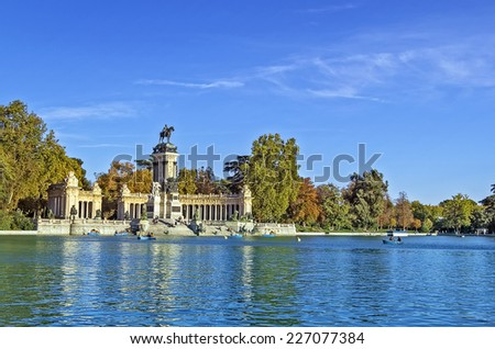 The Monument to King Alfonso XII is located in Buen Retiro Park, Madrid, Spain. - stock photo