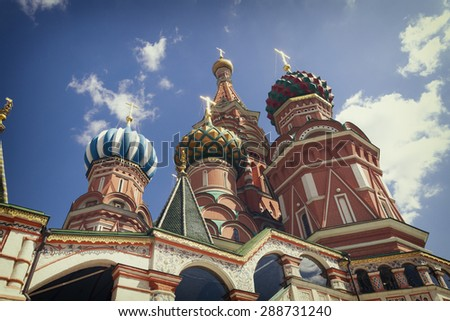 The monument to Minin and Pozharsky and the most famous Russian Cathedral on the Red Square in Moscow - stock photo