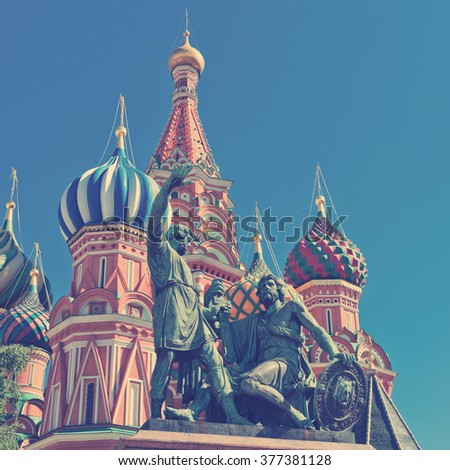 The monument to Minin and Pozharsky in front of the most famous Russian Cathedral on the Red Square in Moscow . Instagram style filtred image - stock photo