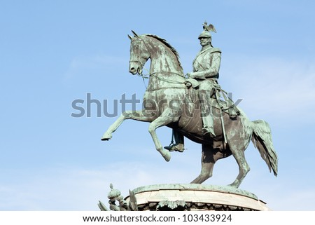 The Monument to Nicholas I in Saint Petersburg, Russia. Was designed by the architect Auguste de Montferrand in 1856 - stock photo