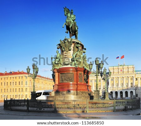 The monument to Nicholas I (1859) in St. Petersburg, Russia - stock photo