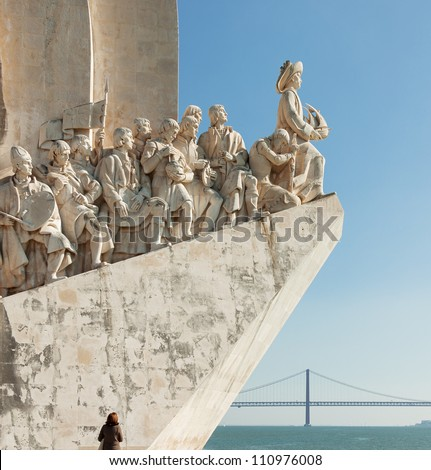 The Monument to the Discoveries in Lisbon ( Padrao dos Descobrimentos ) - Portugal - stock photo