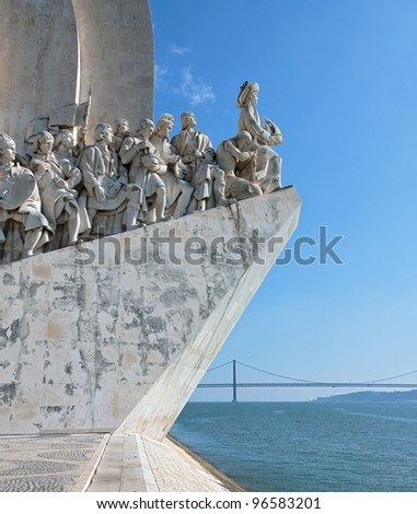The Monument to the Discoveries in Lisbon (Padrao dos Descobrimentos), Portugal - stock photo