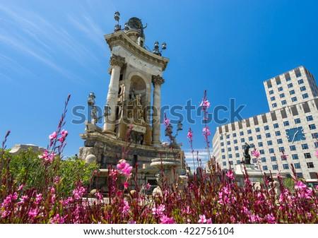 The monumental fountain in the Placa Espanya - stock photo