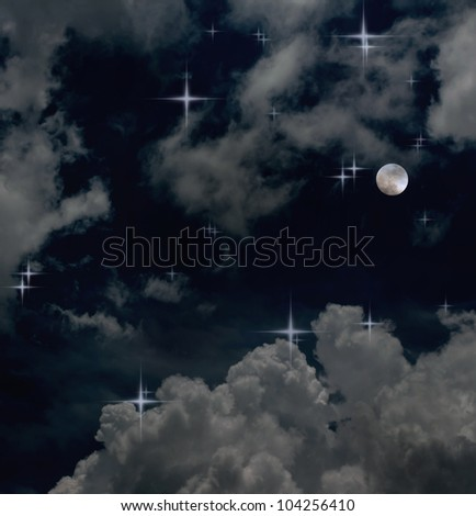 The moon and dark sky background