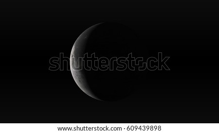 The Moon in waning crescent phase on a black background. Digital illustration. Moon texture is public domain provided by NASA.