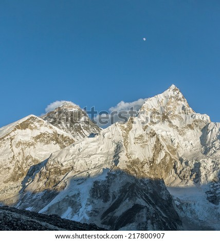 The Moon, Mount Everest (8848 m), and Nuptse (7864 m). View from Kala Patthar (5600 m) - Nepal, Himalayas