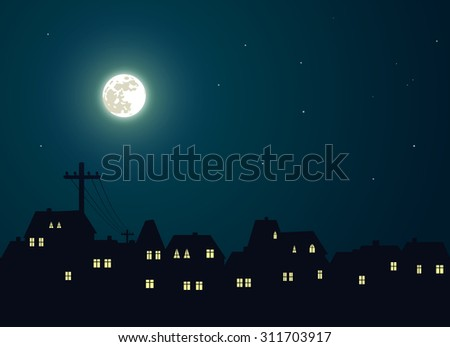 The moon over the city