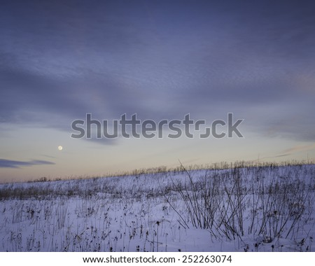 The moon rises just after sunset on a winter evening at Springbrook Prairie Nature Preserve, DuPage County, Illinois. - stock photo